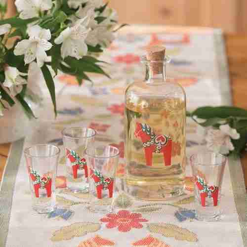 Dala Horse Glassware Carafe/Aquavit Glasses