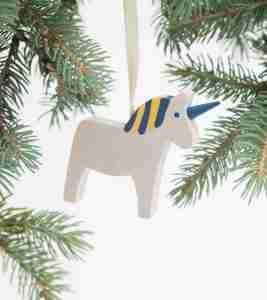 Wooden Dala Horse Ornament - Blue