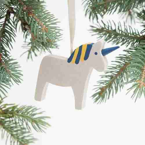 Wooden Dala Horse Ornament - Blue