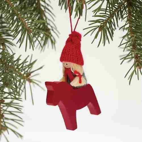 Wooden Dala Horse Ornament - Girl