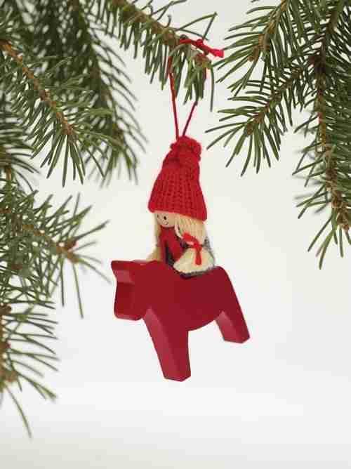 Wooden Dala Horse Ornament - Girl