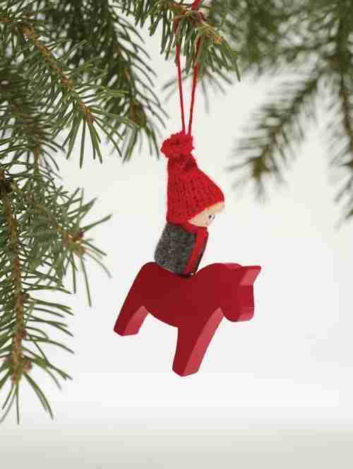 Wooden Dala Horse Ornament - Boy