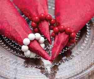 Red Bead Napkin Rings