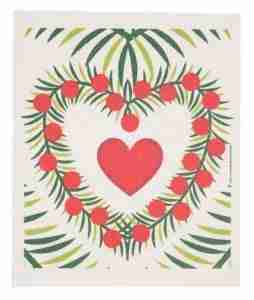 Swedish Dishcloth - Heart w/Wreath