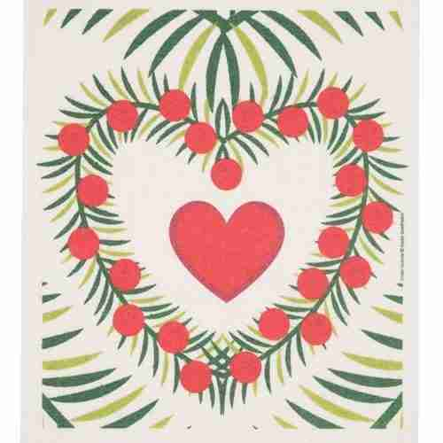 Swedish Dishcloth - Heart w/Wreath